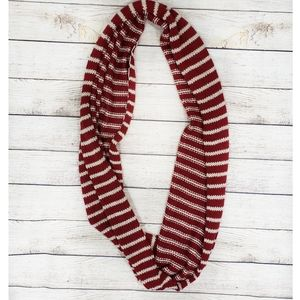 Red and White Striped Crocheted Infinity Scarf